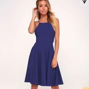 New Lulu's irresistible Charm Royal Blue Dress